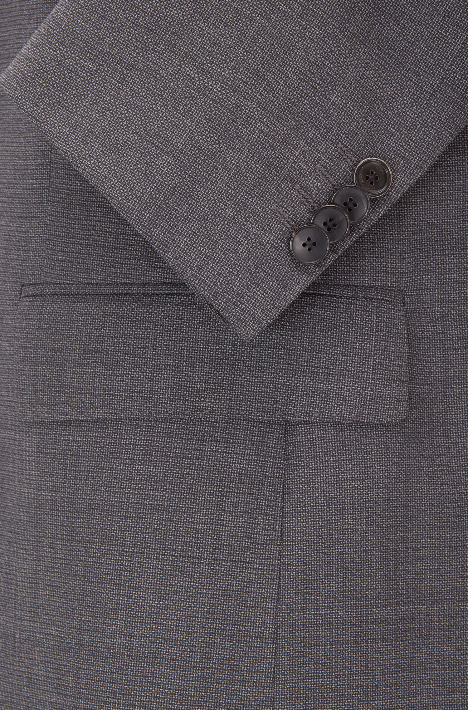 Slim-fit suit in mélange virgin wool