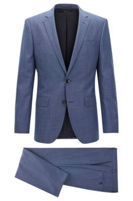 Melierter Slim-Fit Anzug aus Schurwolle, Blau
