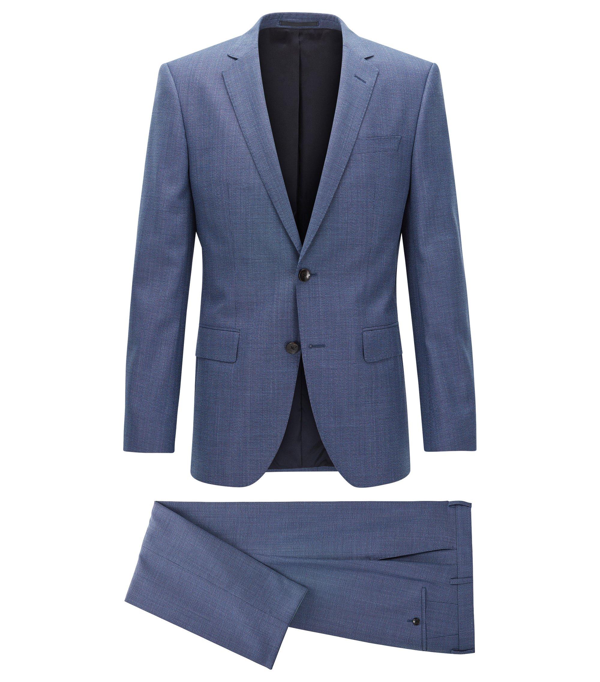Slim-fit suit in mélange virgin wool, Blue