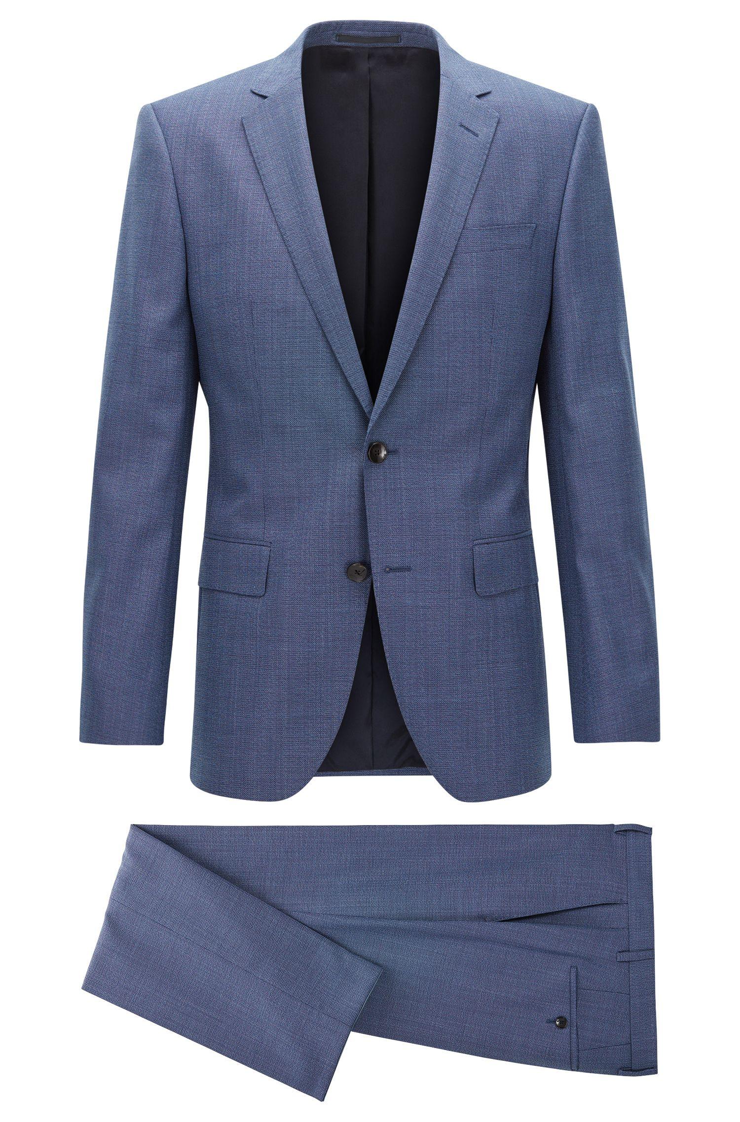 Melierter Slim-Fit Anzug aus Schurwolle