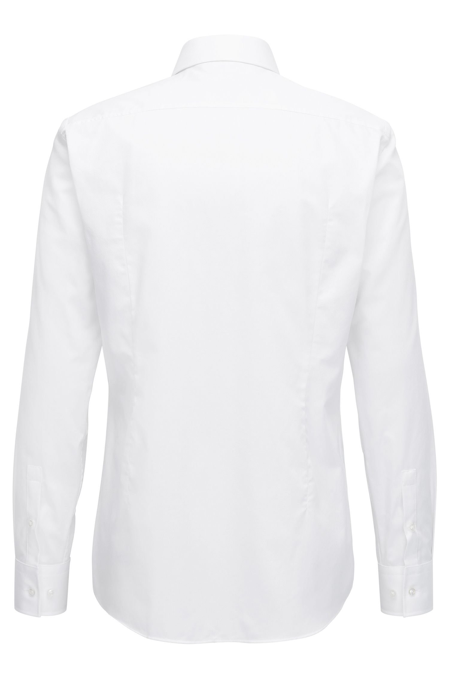 Slim-Fit Hemd aus fein strukturierter Baumwolle, Weiß