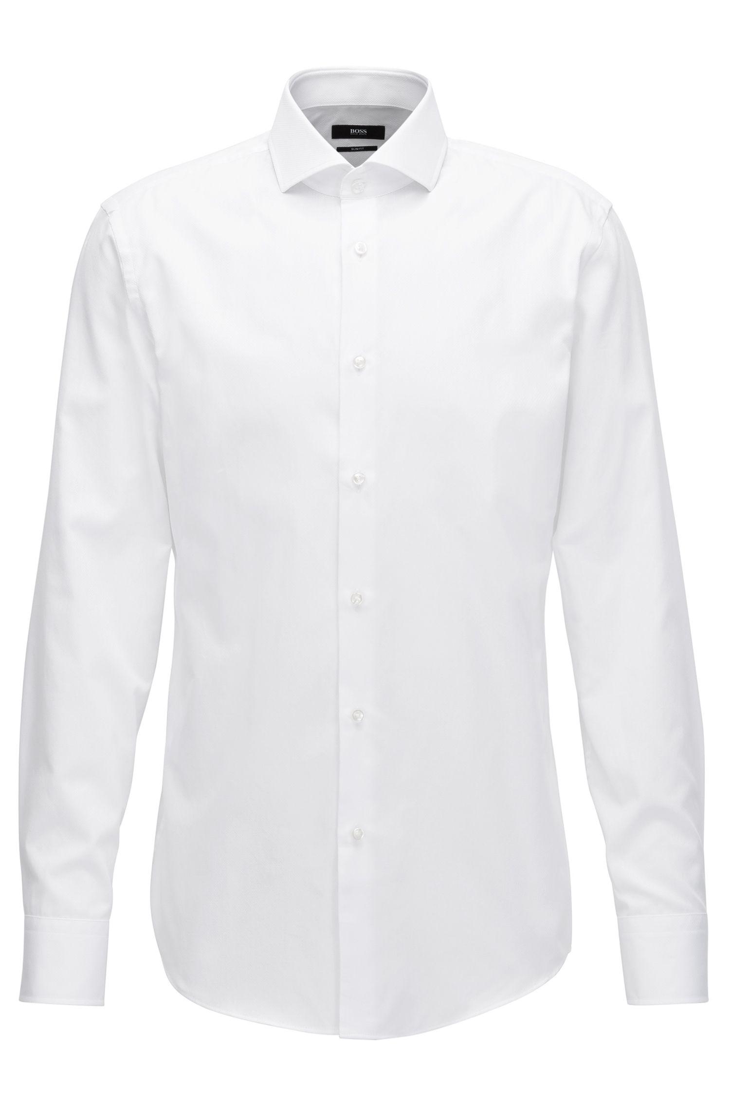 Slim-Fit Hemd aus fein strukturierter Baumwolle
