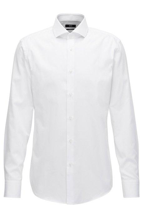 Chemise Slim Fit en coton microstructuré, Blanc