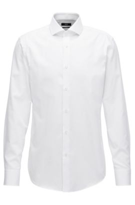 Micro-structure cotton shirt in a slim fit, White