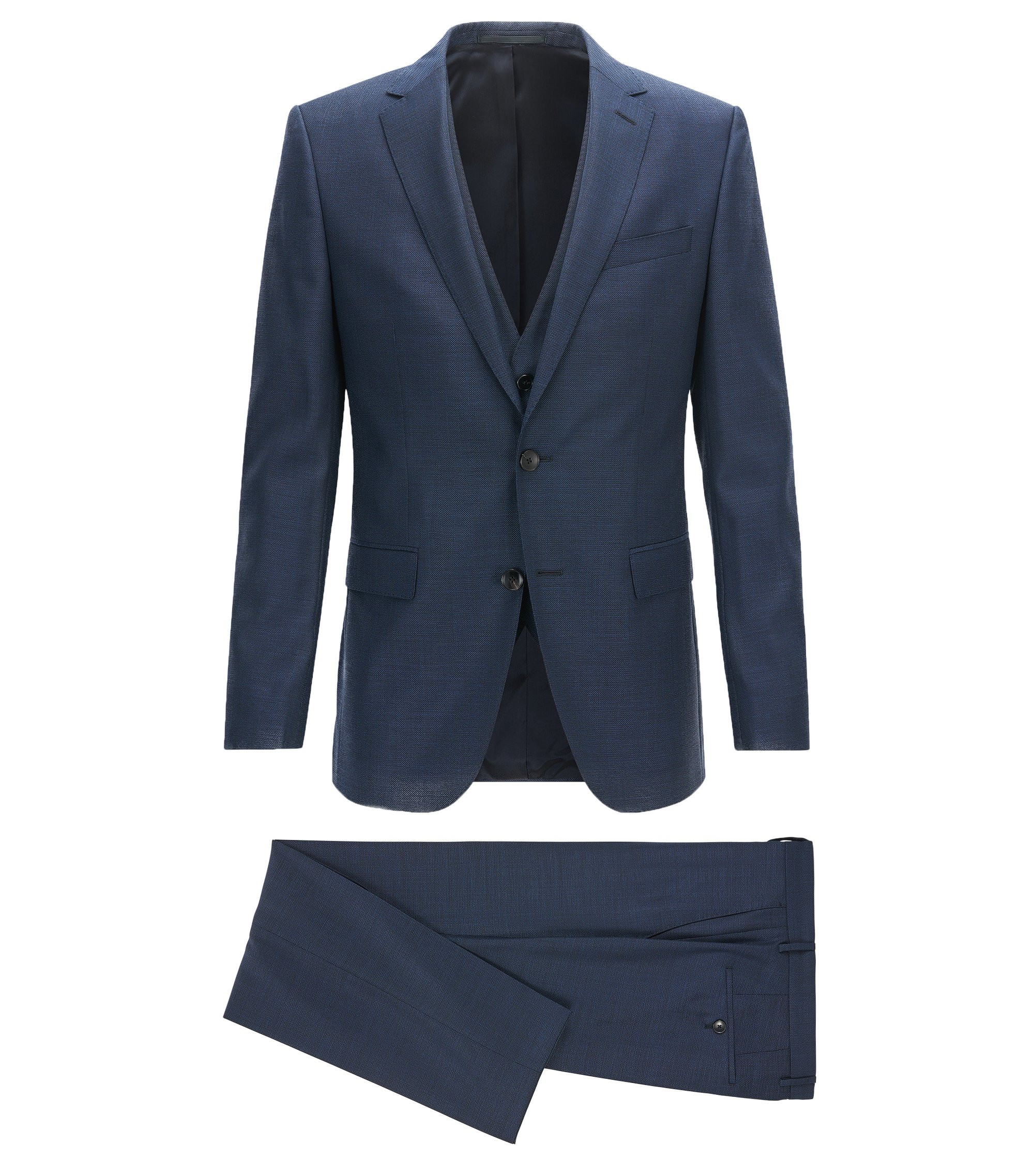 Slim-fit three-piece suit in virgin wool, Dark Blue
