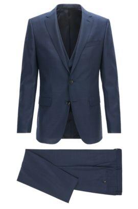Slim-Fit Anzug aus Schurwolle mit Weste, Dunkelblau