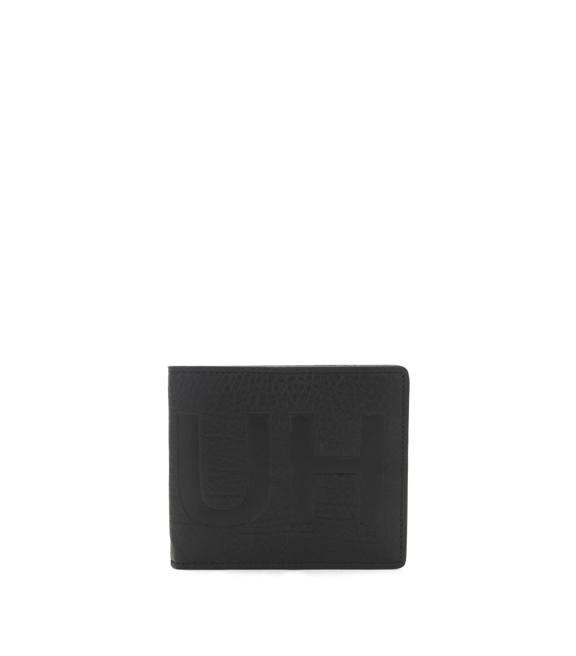 Reverse-logo bifold wallet in grained leather, Black