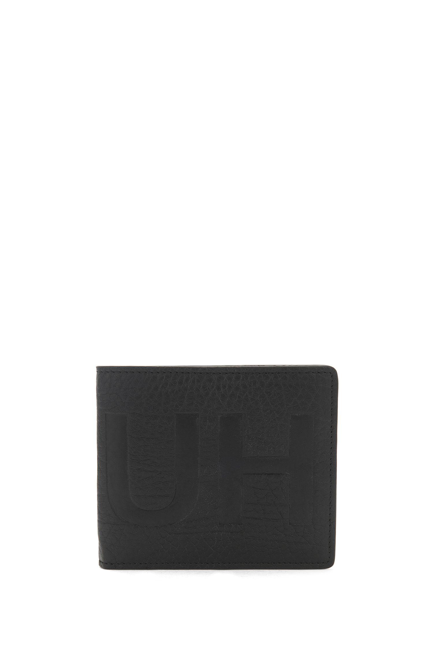 Openklapbare portemonnee van generfd rundleer met gespiegeld logo