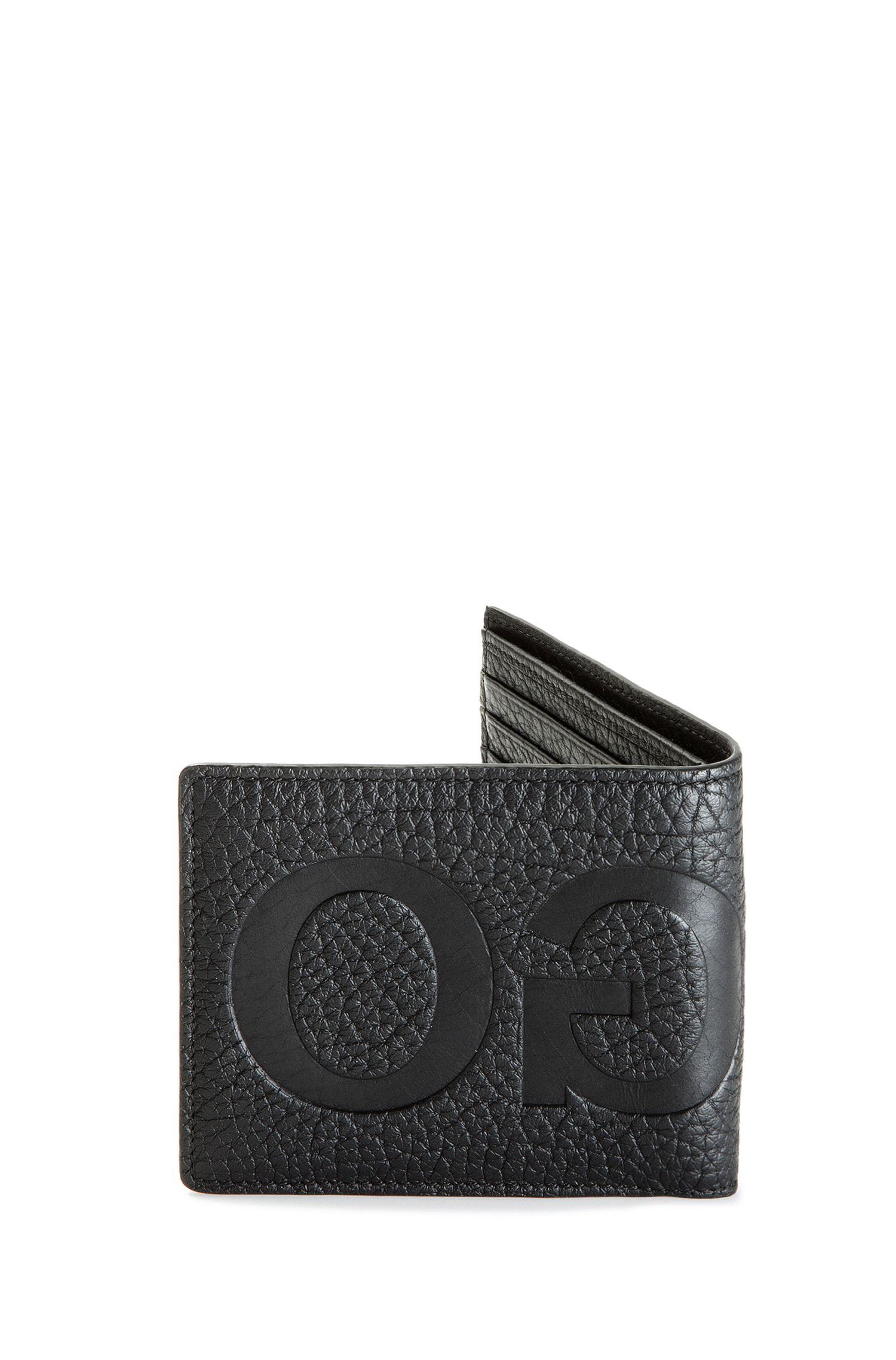 Portefeuille à deux volets en cuir grainé avec logo inversé et pochette qjGEBN