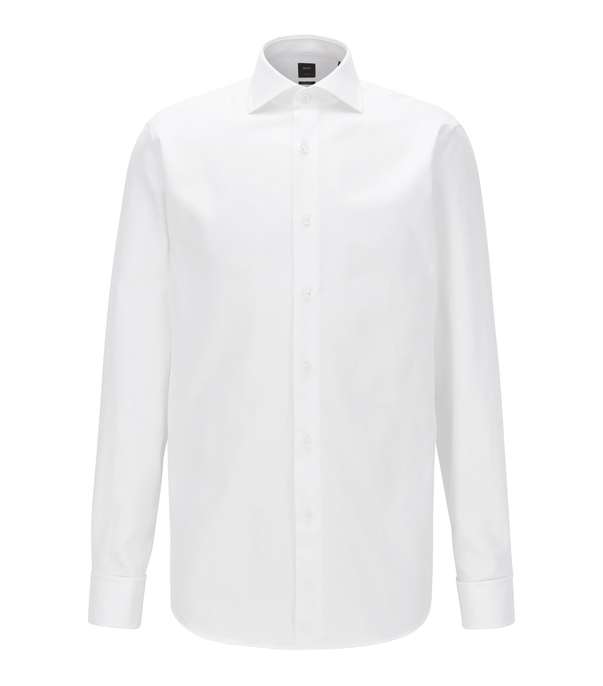 Chemise Regular Fit en coton double retors structuré, Blanc