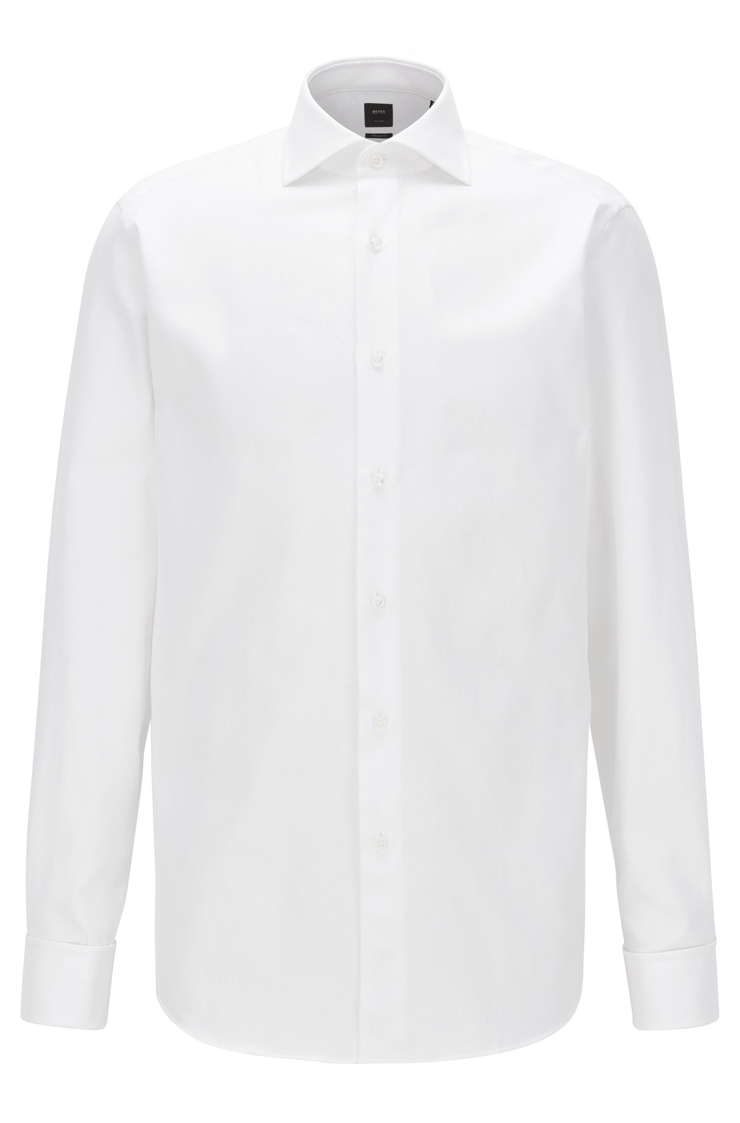 Two-ply structured cotton shirt in a regular fit