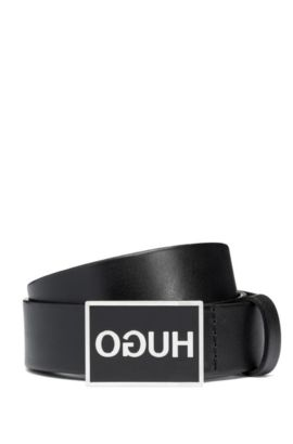 Plate-buckle belt in smooth leather, Noir