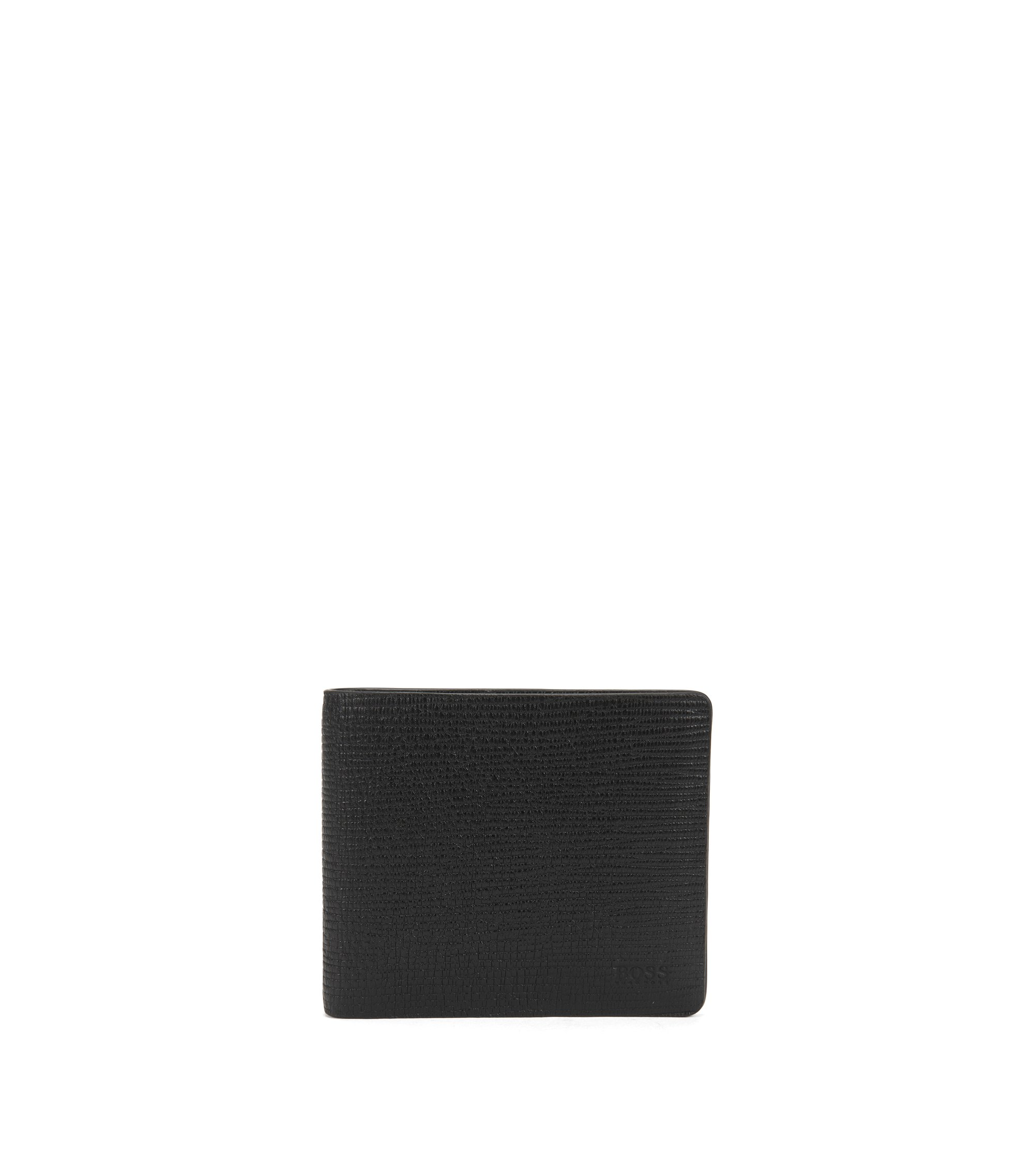 Billfold wallet in soft printed leather, Black