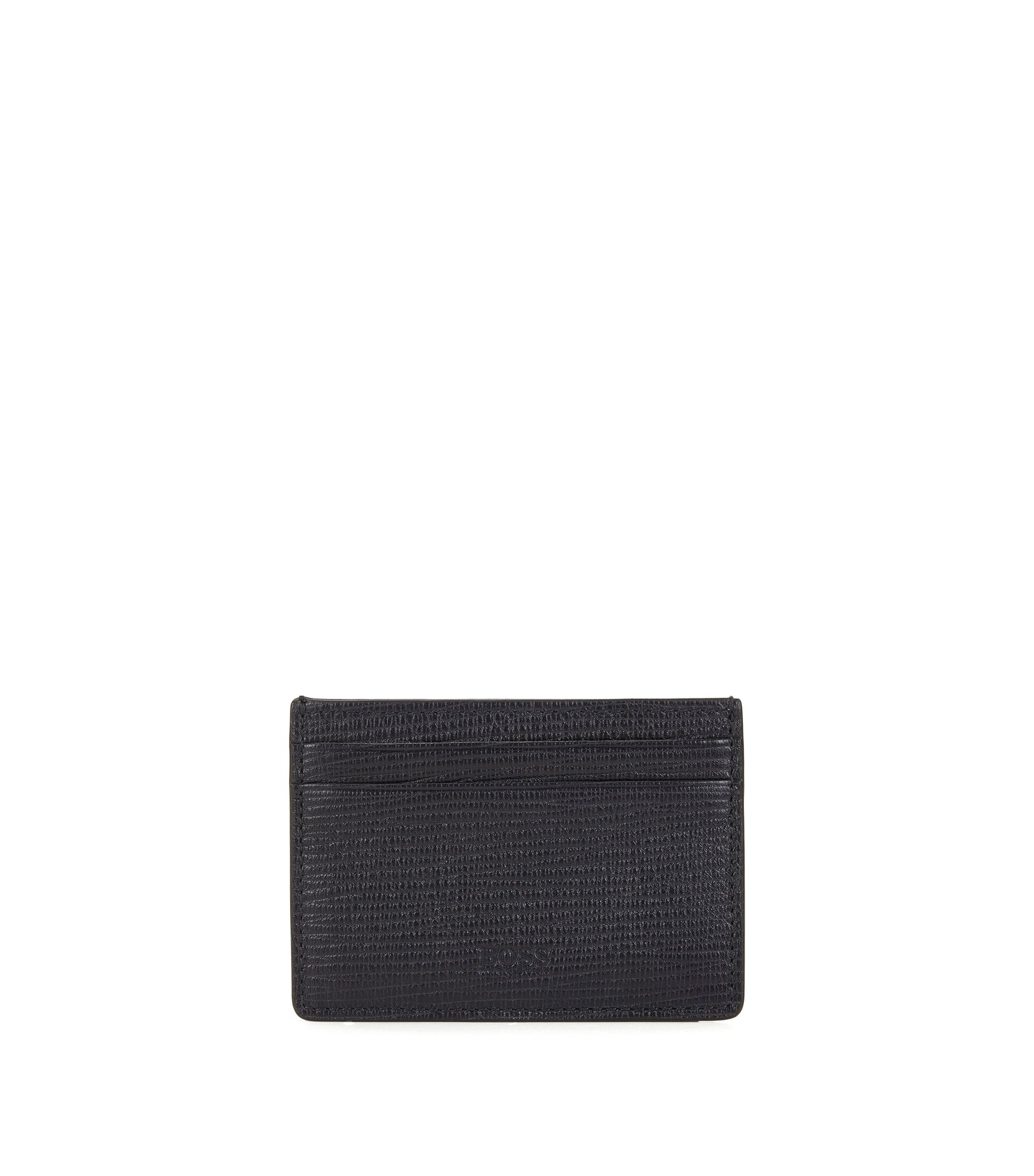 Card case in printed leather, Dark Blue