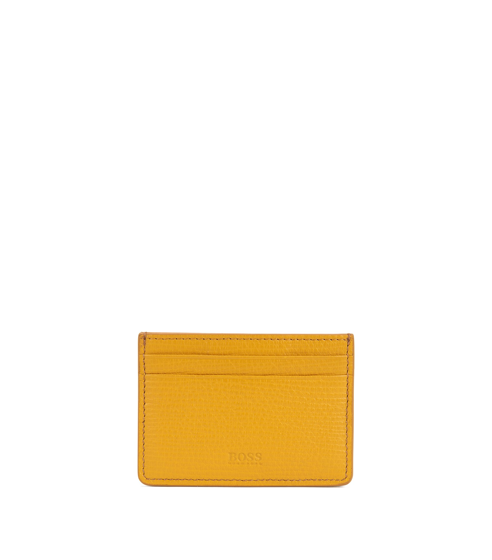Card case in printed leather, Yellow
