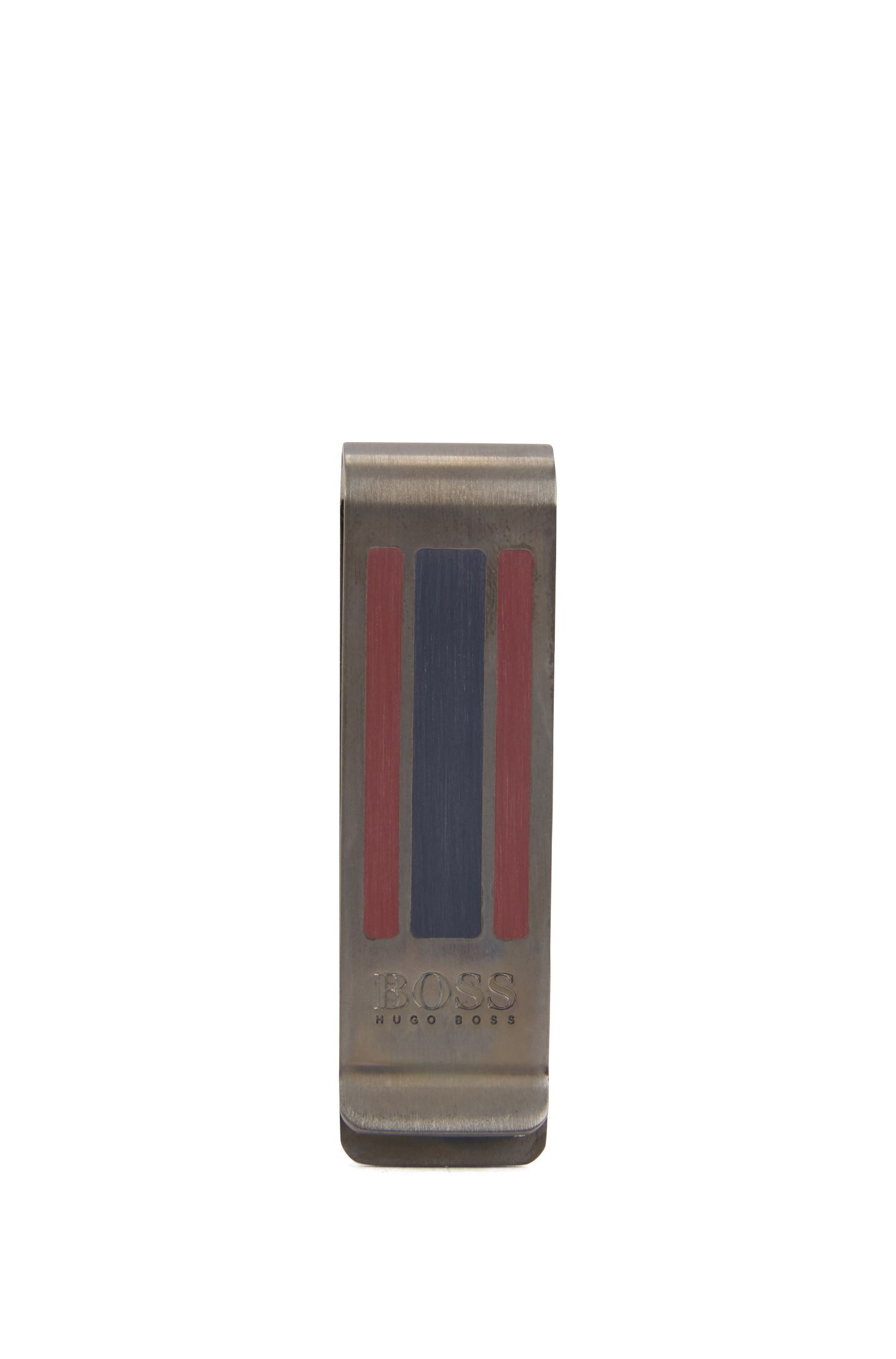 Geldscheinklammer aus Messing mit Emaille-Streifen, Dunkelgrau