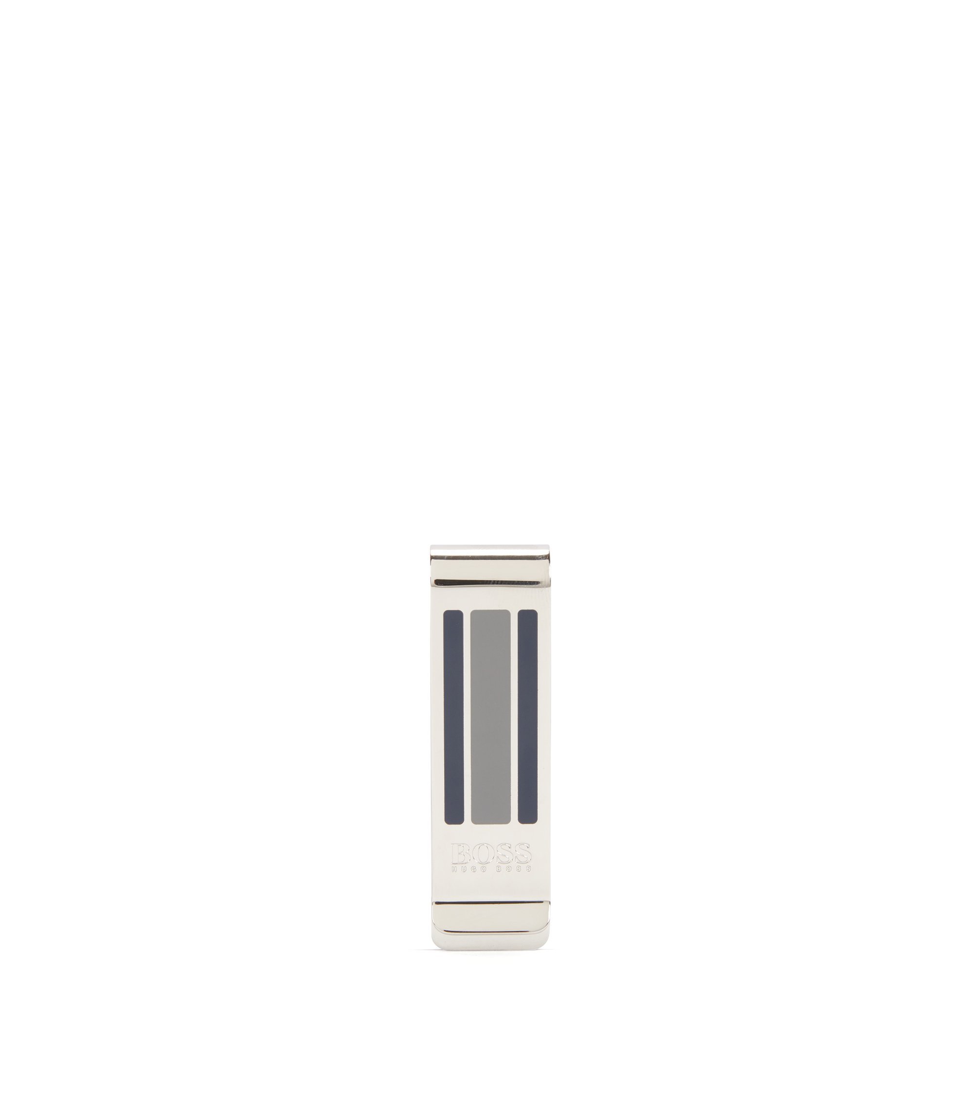 Metal money clip with enamel stripes, Silver