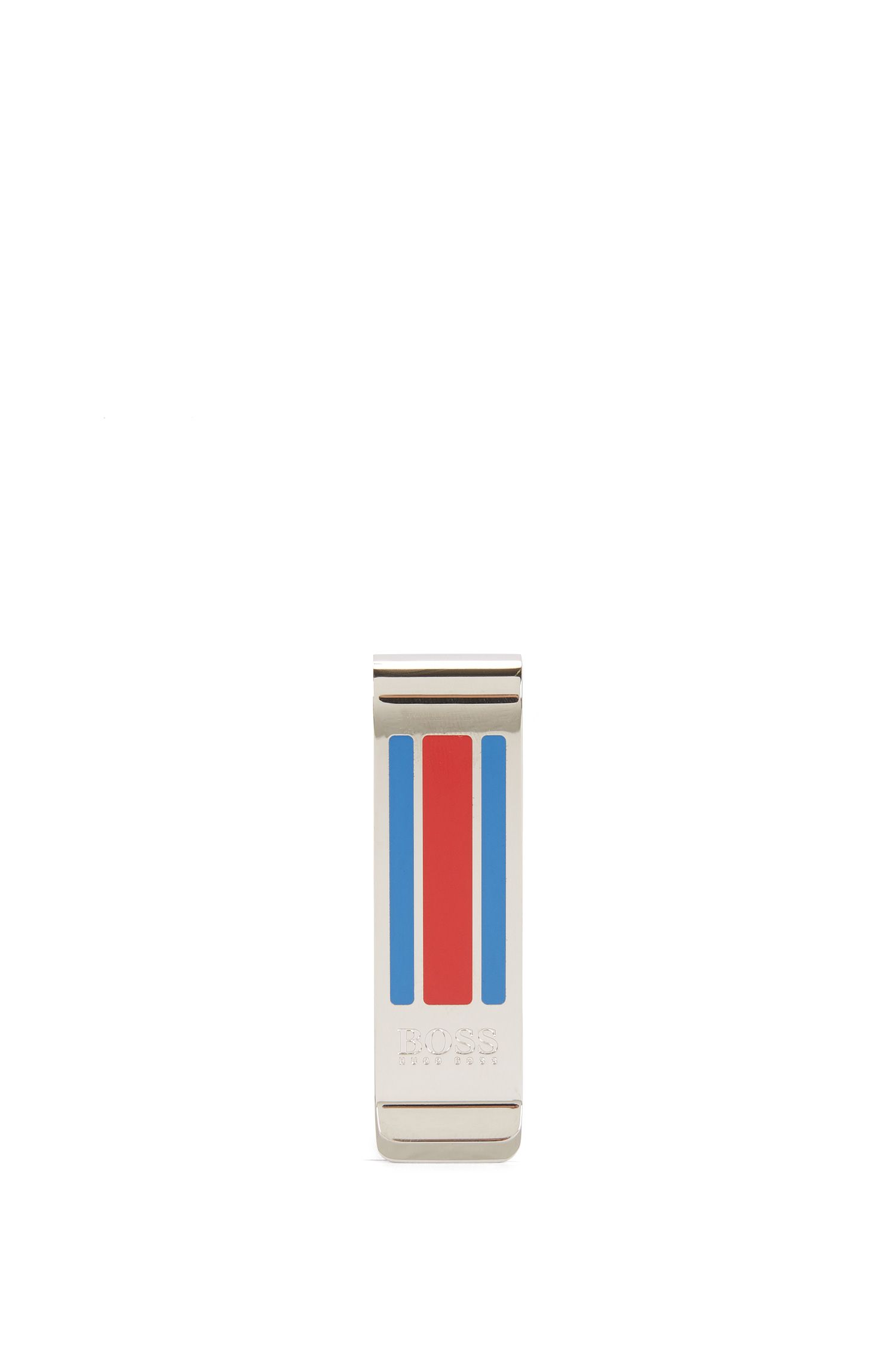 Metal money clip with enamel stripes