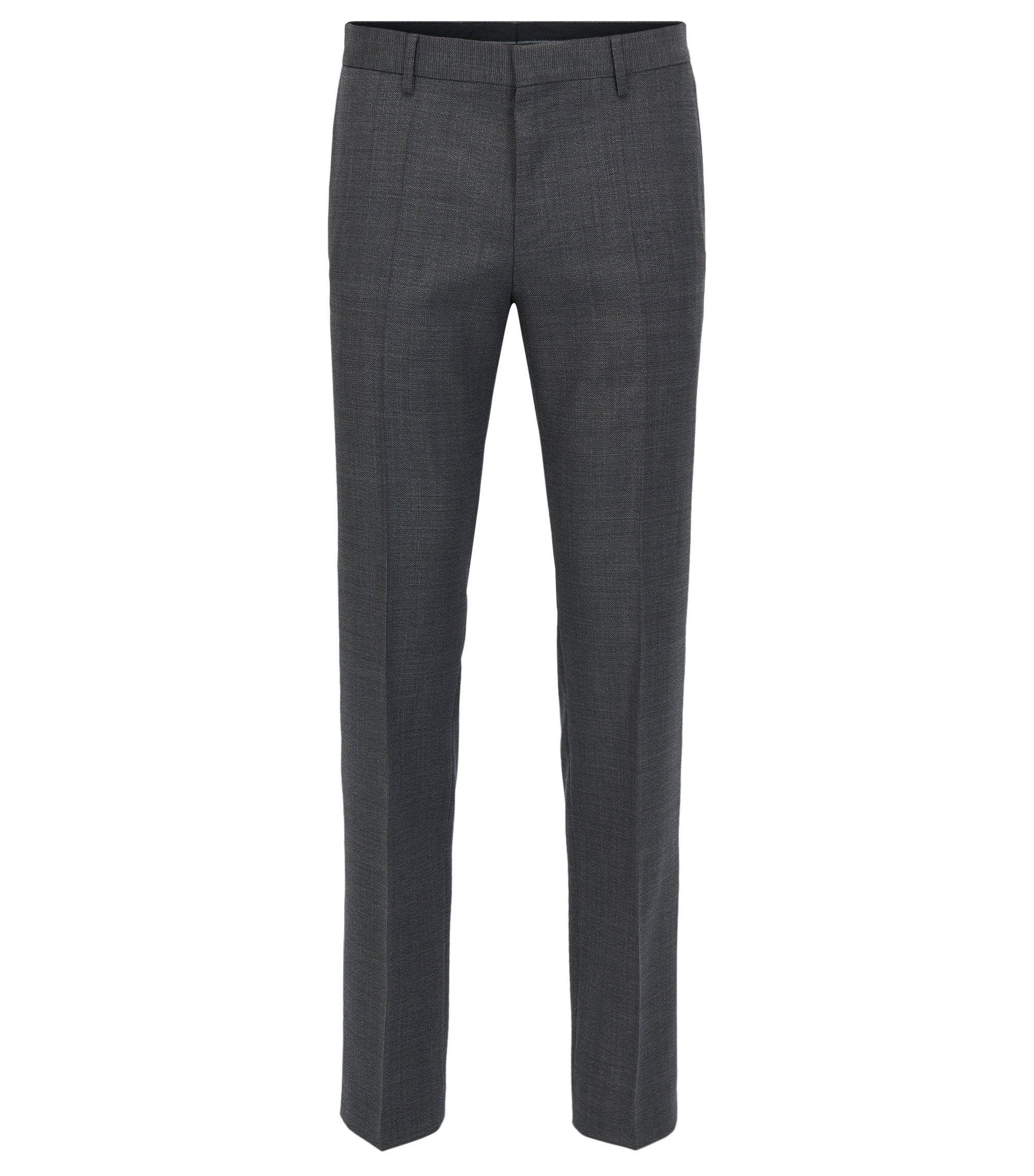 Slim-fit trousers in Tesse virgin wool serge with natural stretch, Grey