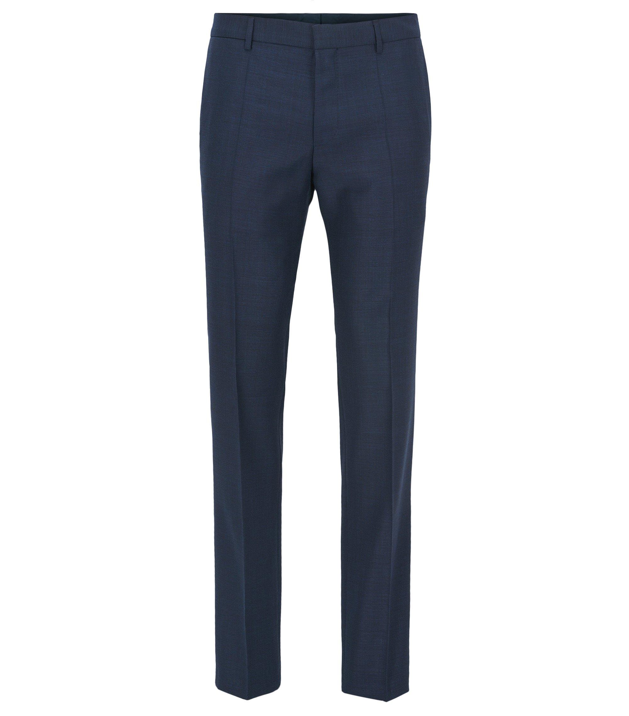 Pantaloni slim fit in serge di lana vergine Tesse con elastan naturale, Blu scuro