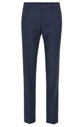 Slim-fit trousers in Tesse virgin wool serge with natural stretch, Dark Blue