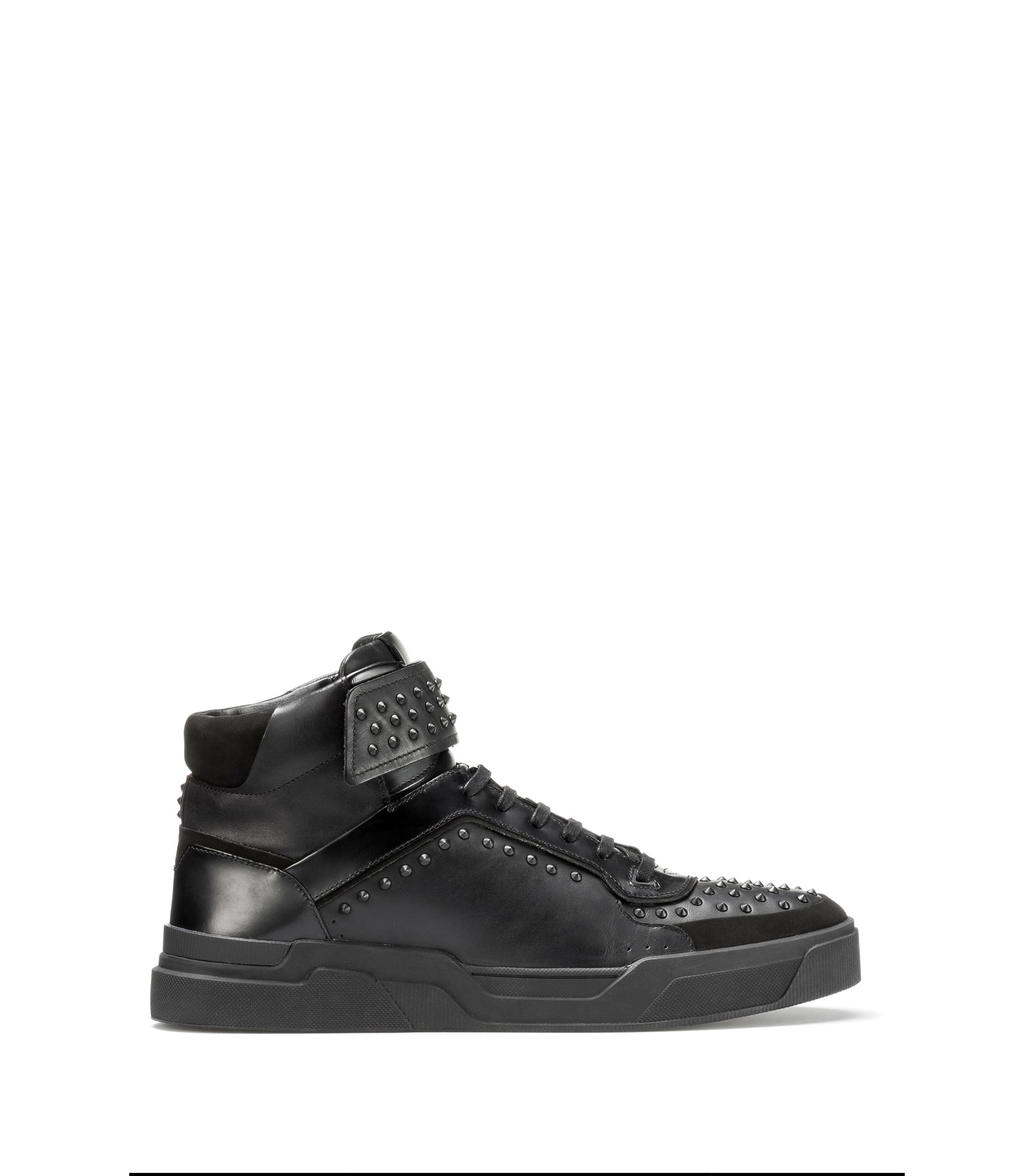 Sneakers high-top in pelle nappa con borchie, Nero