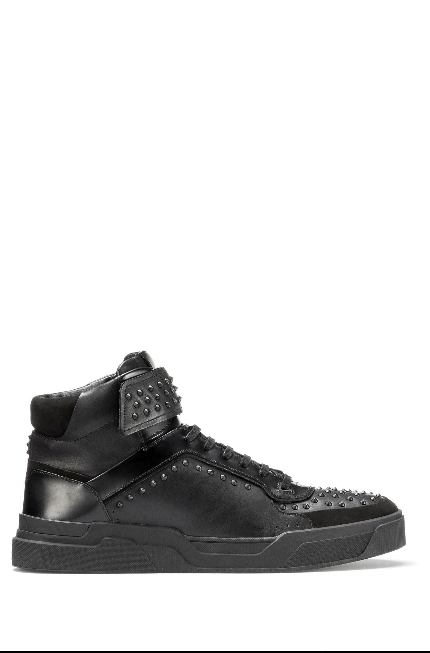 Sneakers high-top in pelle nappa con borchie
