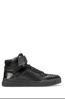 Studded high-top trainers in nappa leather, Black