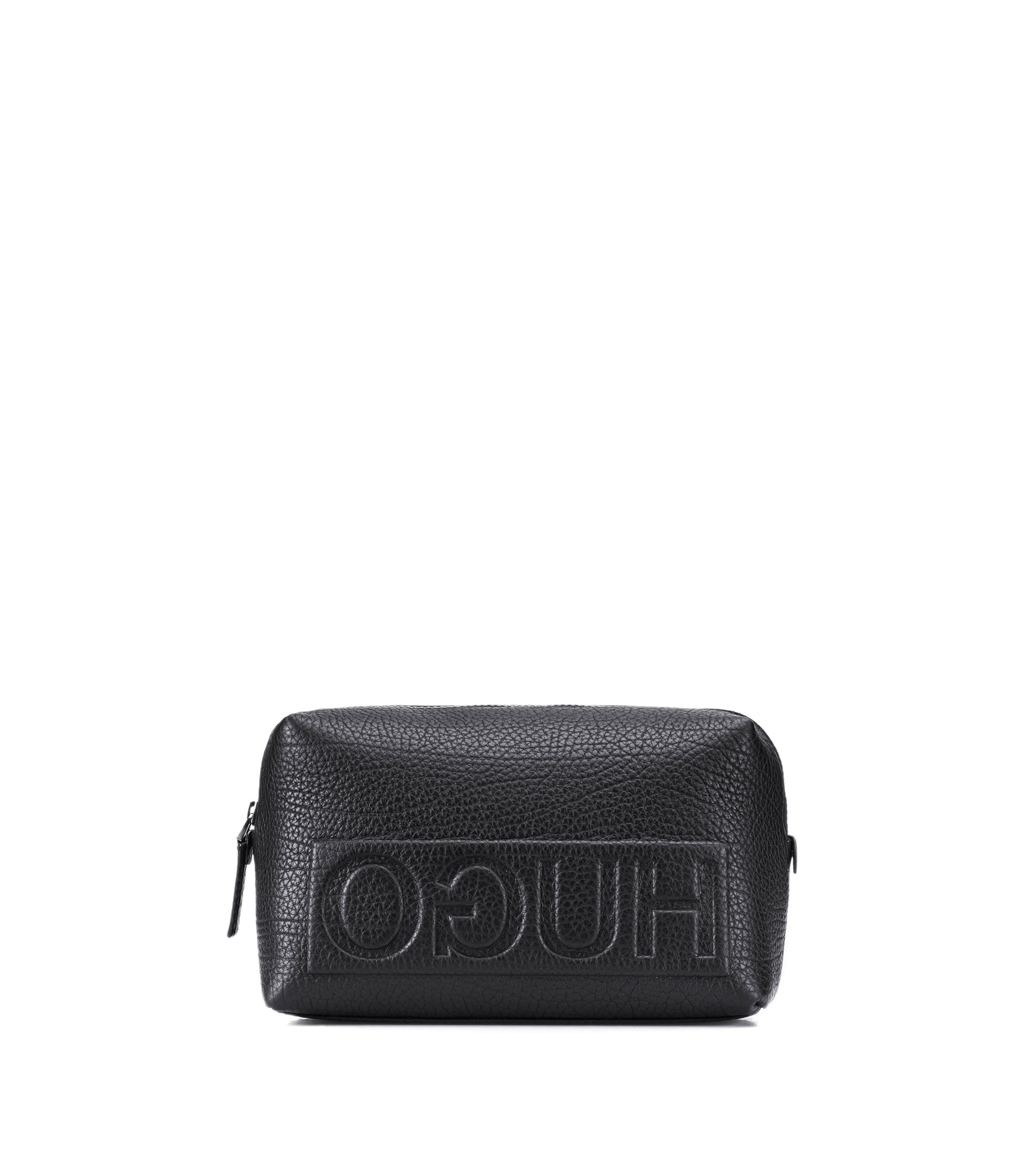 Reverse-logo washbag in grained leather, Black