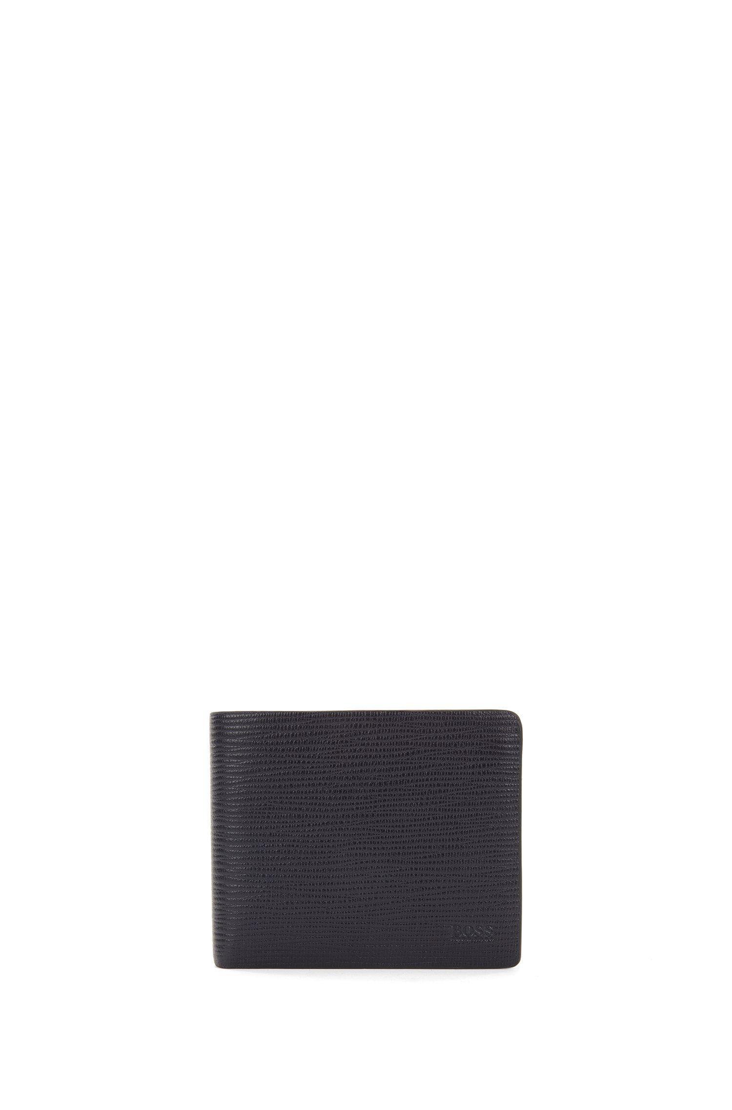 Openklapbare portemonnee van bedrukt leer met acht vakjes voor pasjes