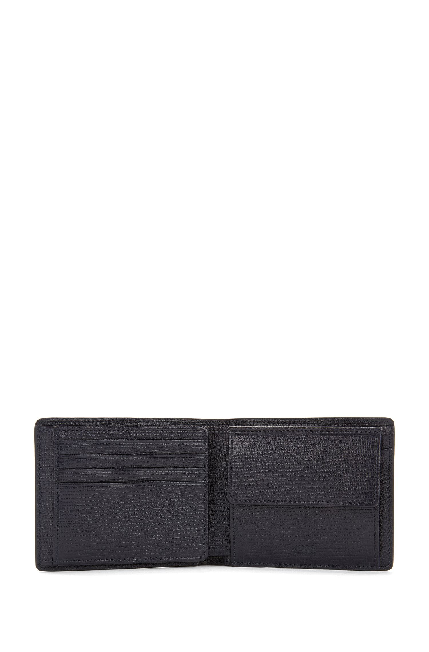 Trifold printed leather wallet with eight card slots