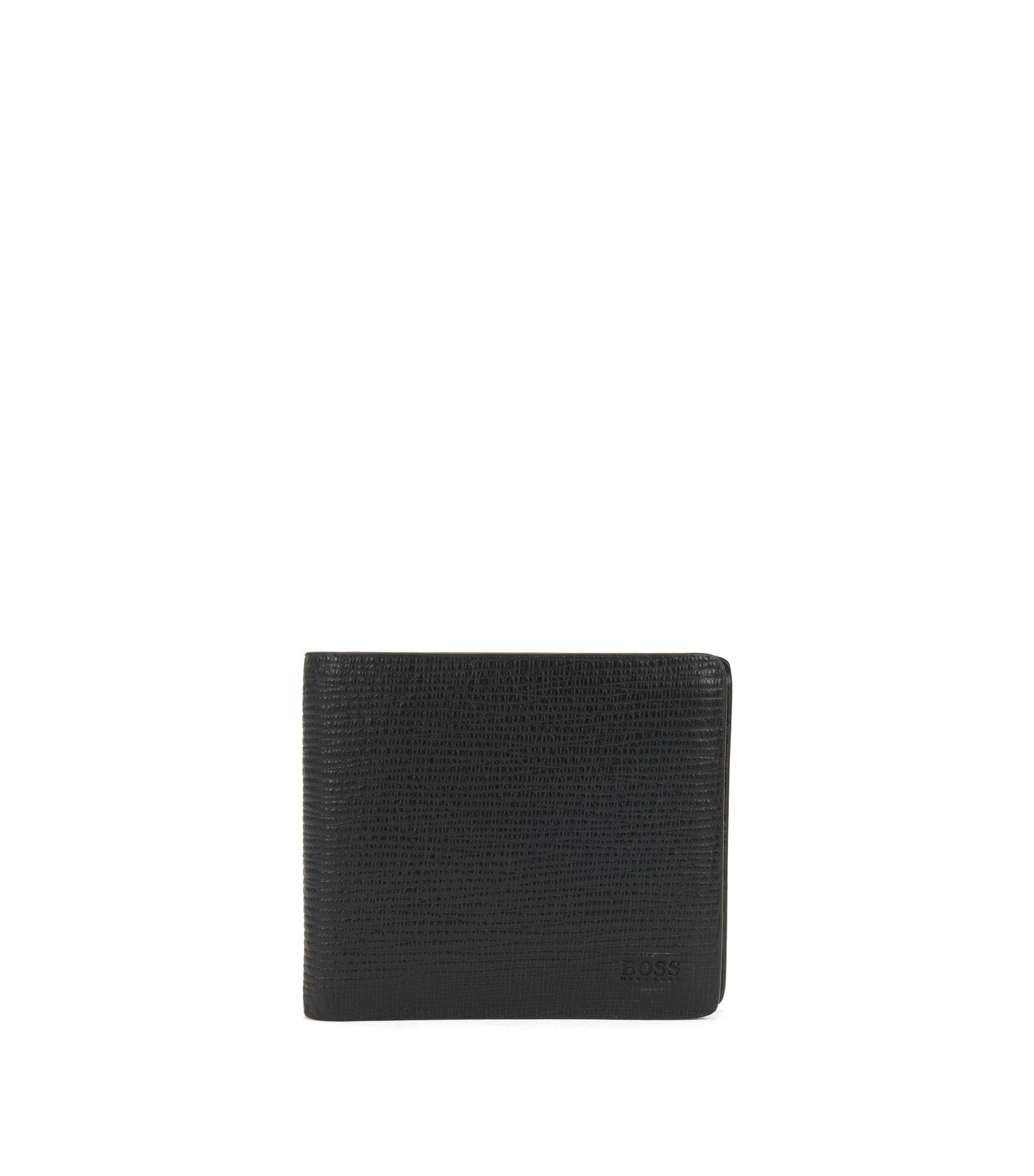 Klapp-Geldbörse aus geprägtem Leder mit Münzfach, Schwarz