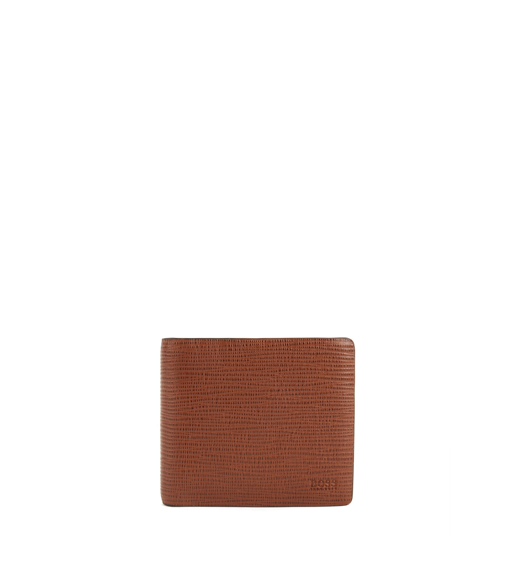 Bifold wallet with coin pouch in printed leather, Brown