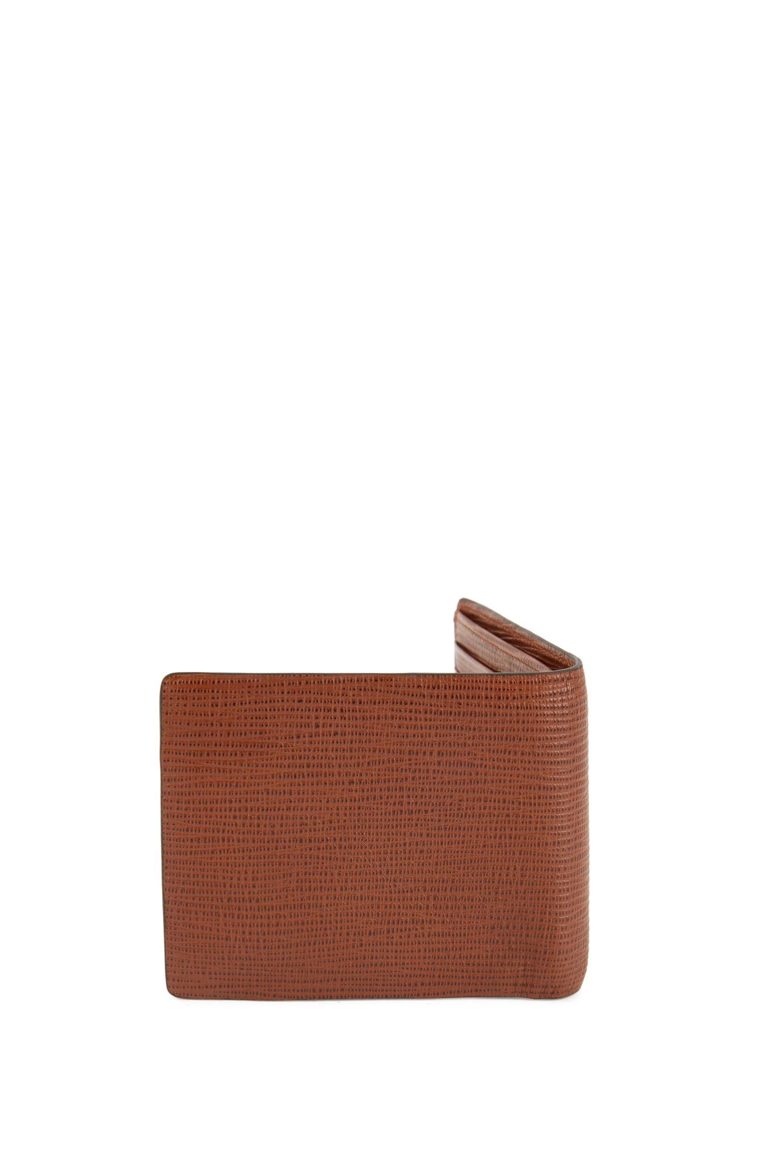 Portafoglio bi-fold in pelle stampata con portamonete, Marrone