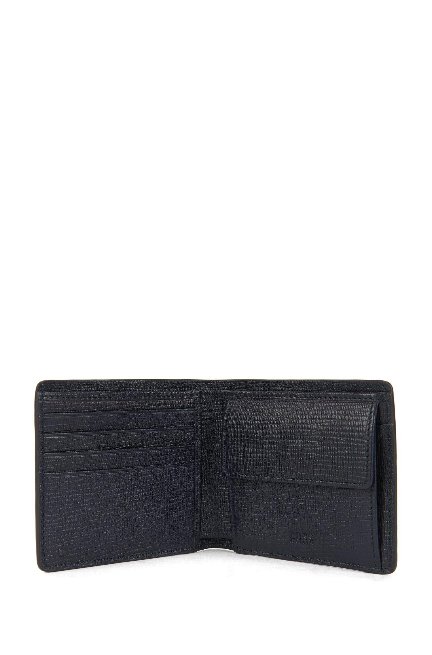 Portefeuille pliant en cuir imprimé avec pochette pour la monnaie
