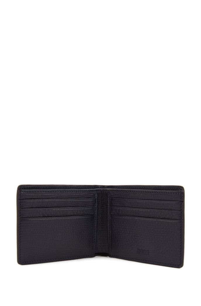 Billfold wallet in calf leather with straw-printed effect
