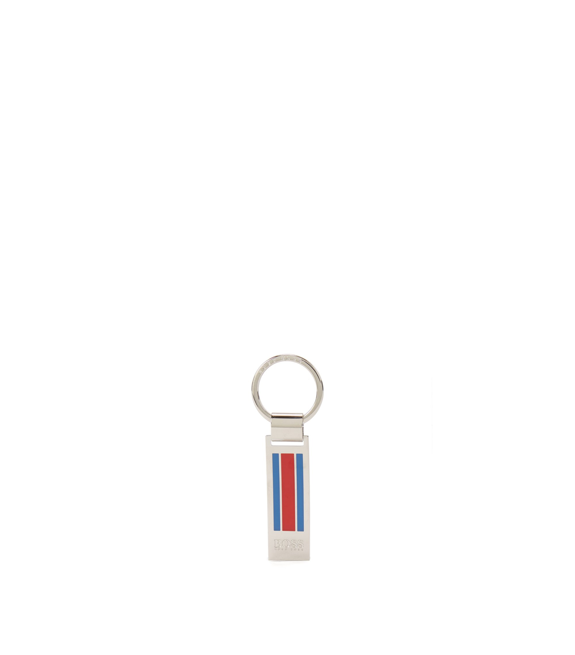 Polished metal keyring with enamel stripes, Silver