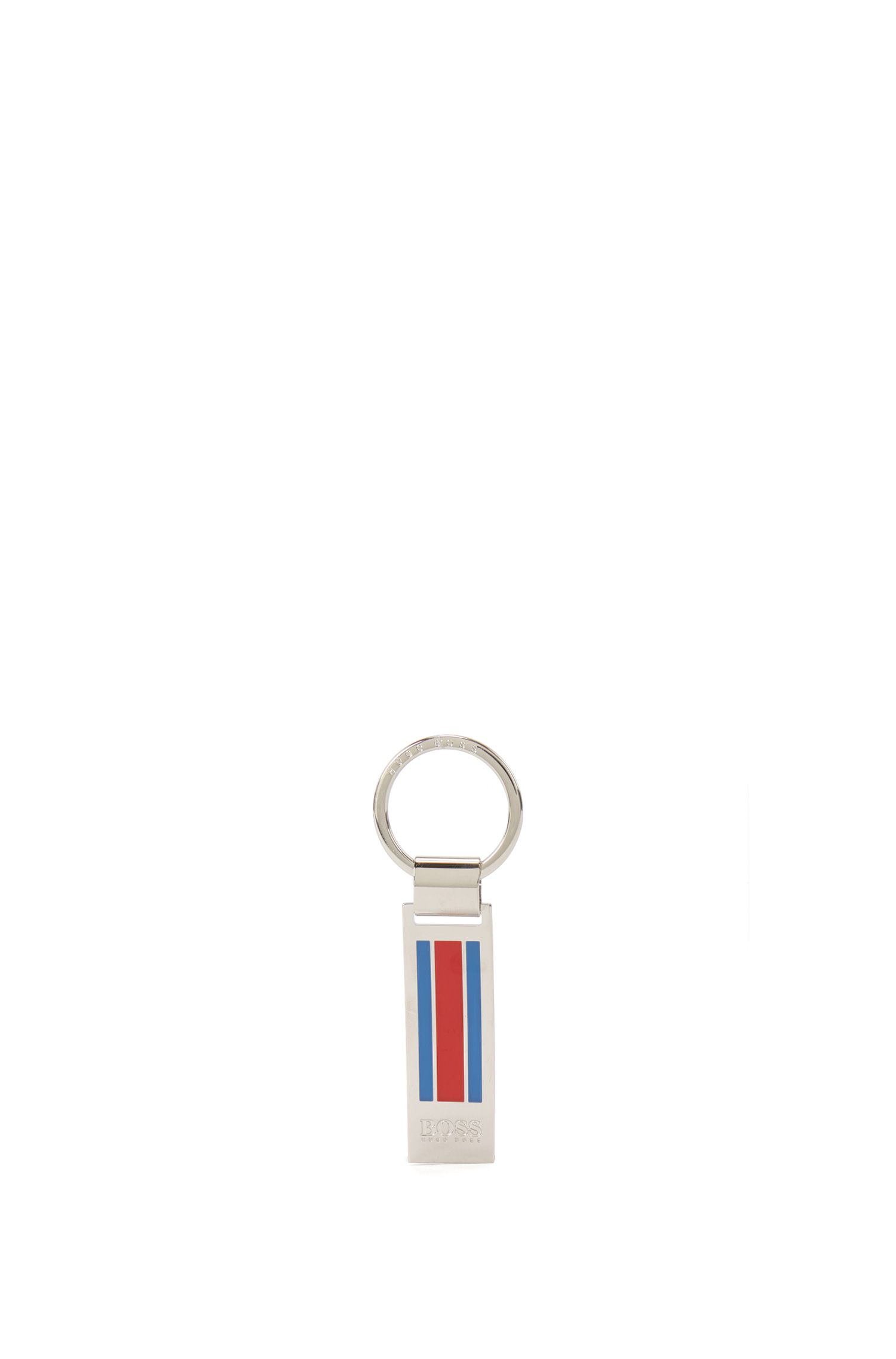 Polished metal keyring with enamel stripes