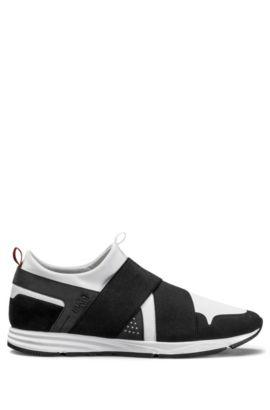 Sneakers van technisch materiaal, met banden aan de bovenkant, Wit
