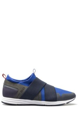 Bandage-top trainers in technical fabric, Blue