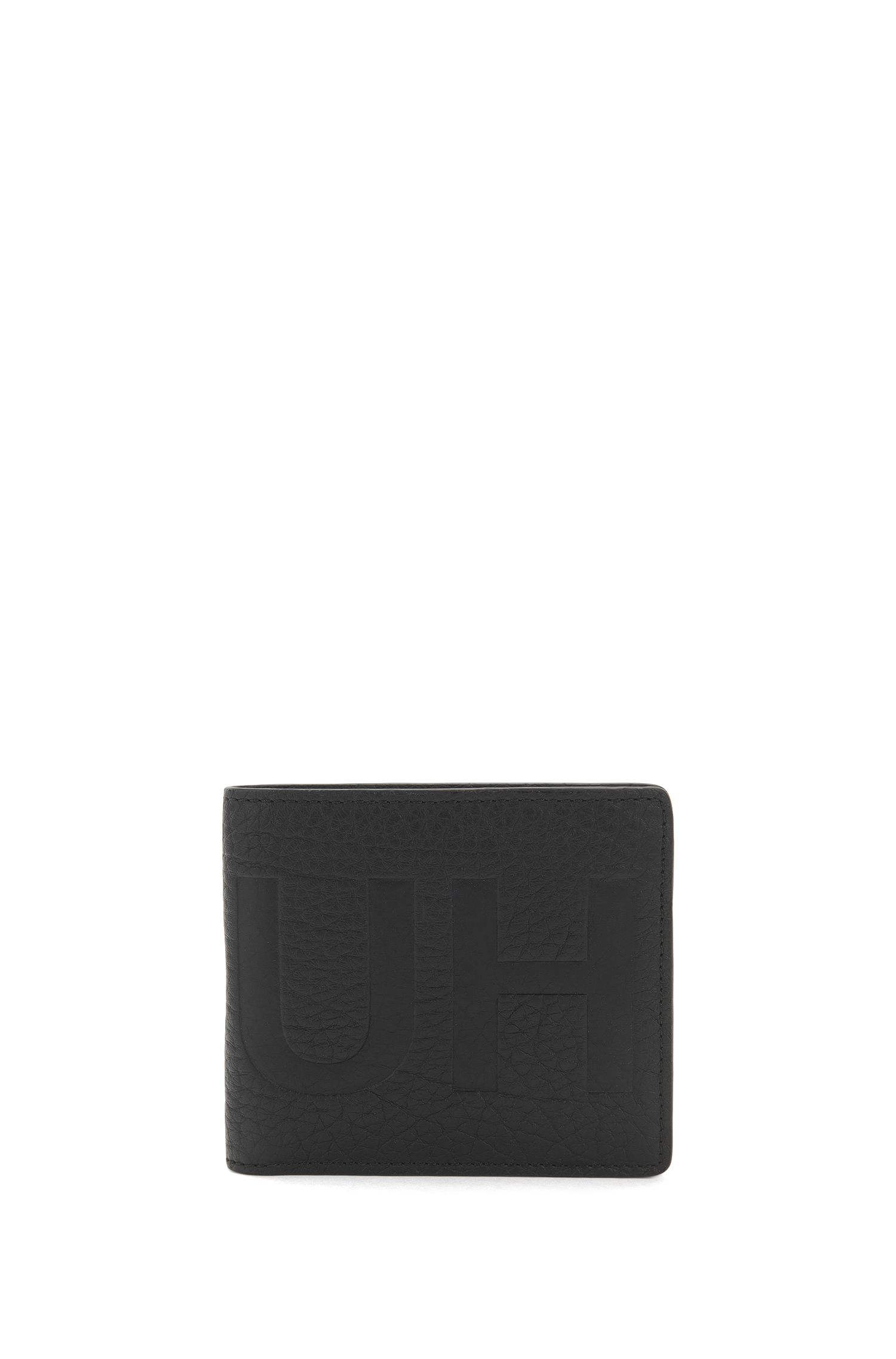 Bifold reverse-logo wallet in grained leather with coin pouch