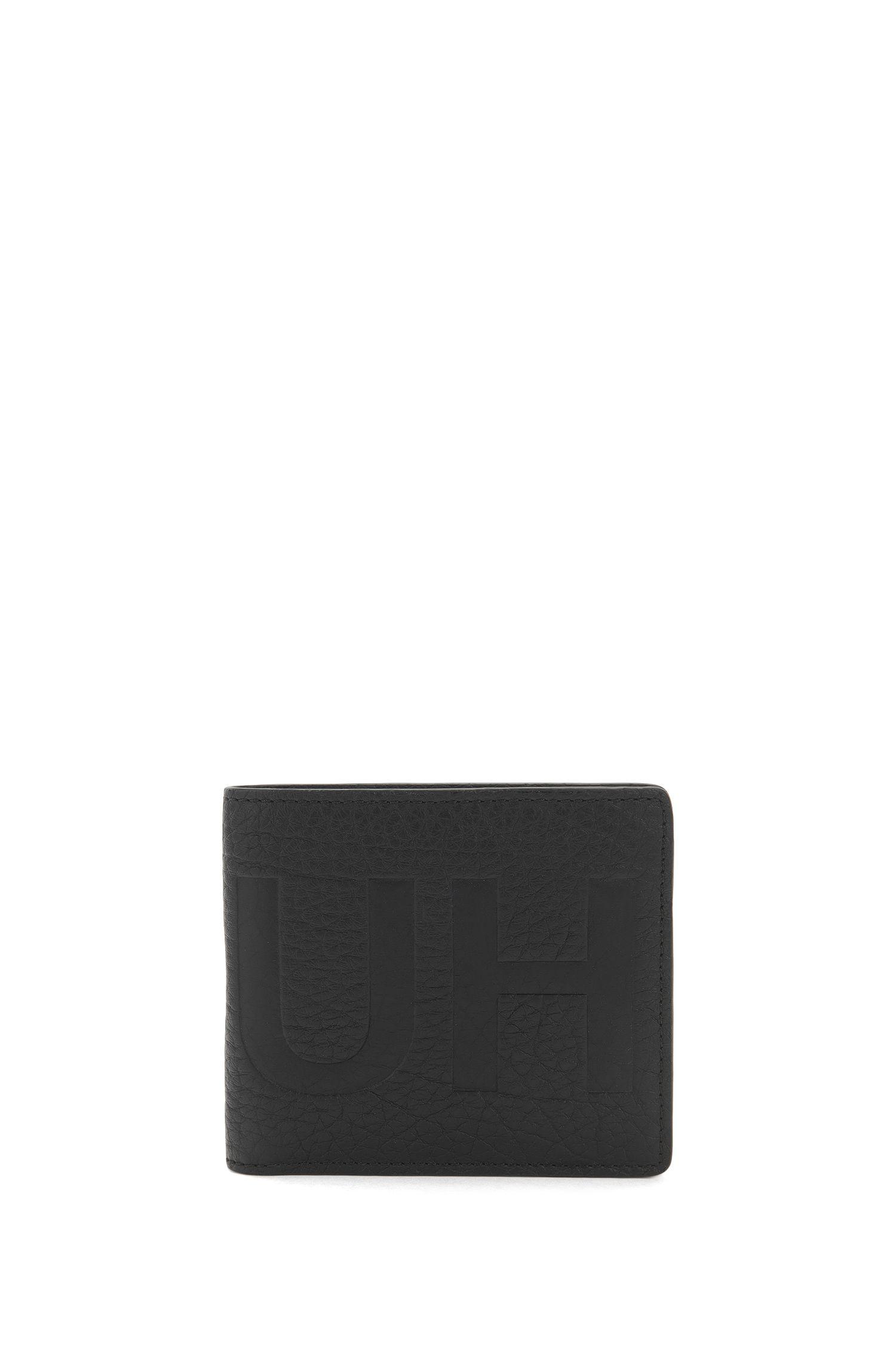 Portefeuille à deux volets en cuir grainé avec logo inversé et pochette