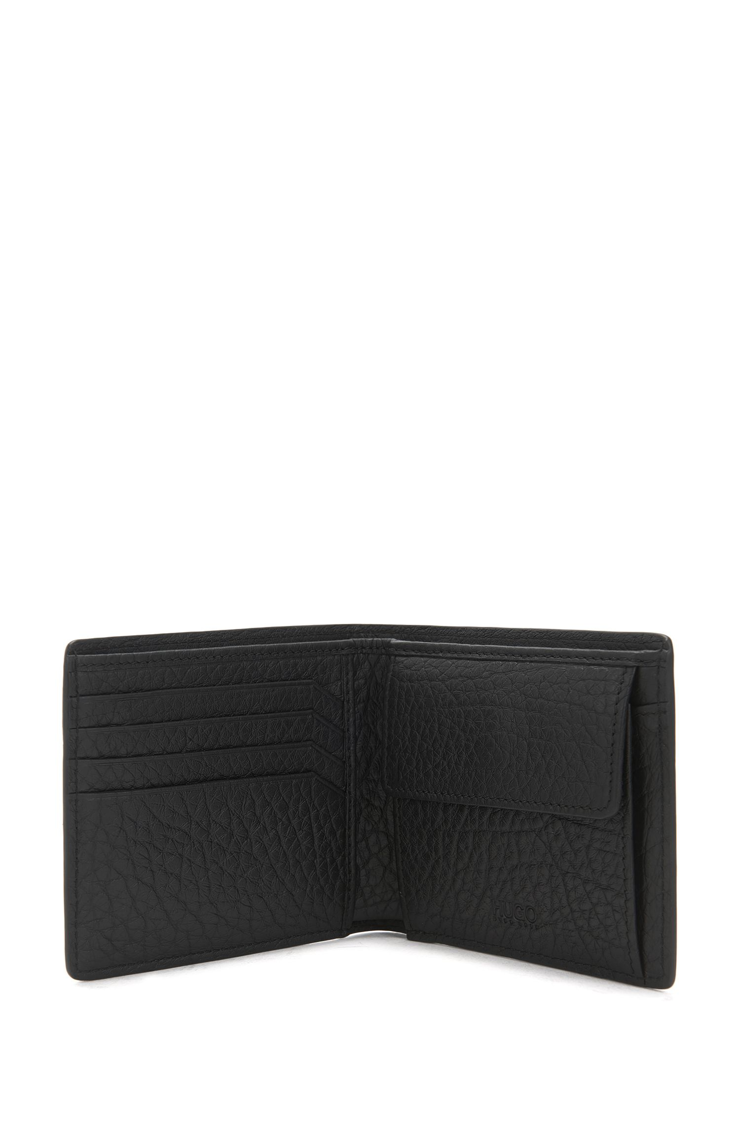 Openklapbare portemonnee met muntvakje van generfd rundleer met gespiegeld logo