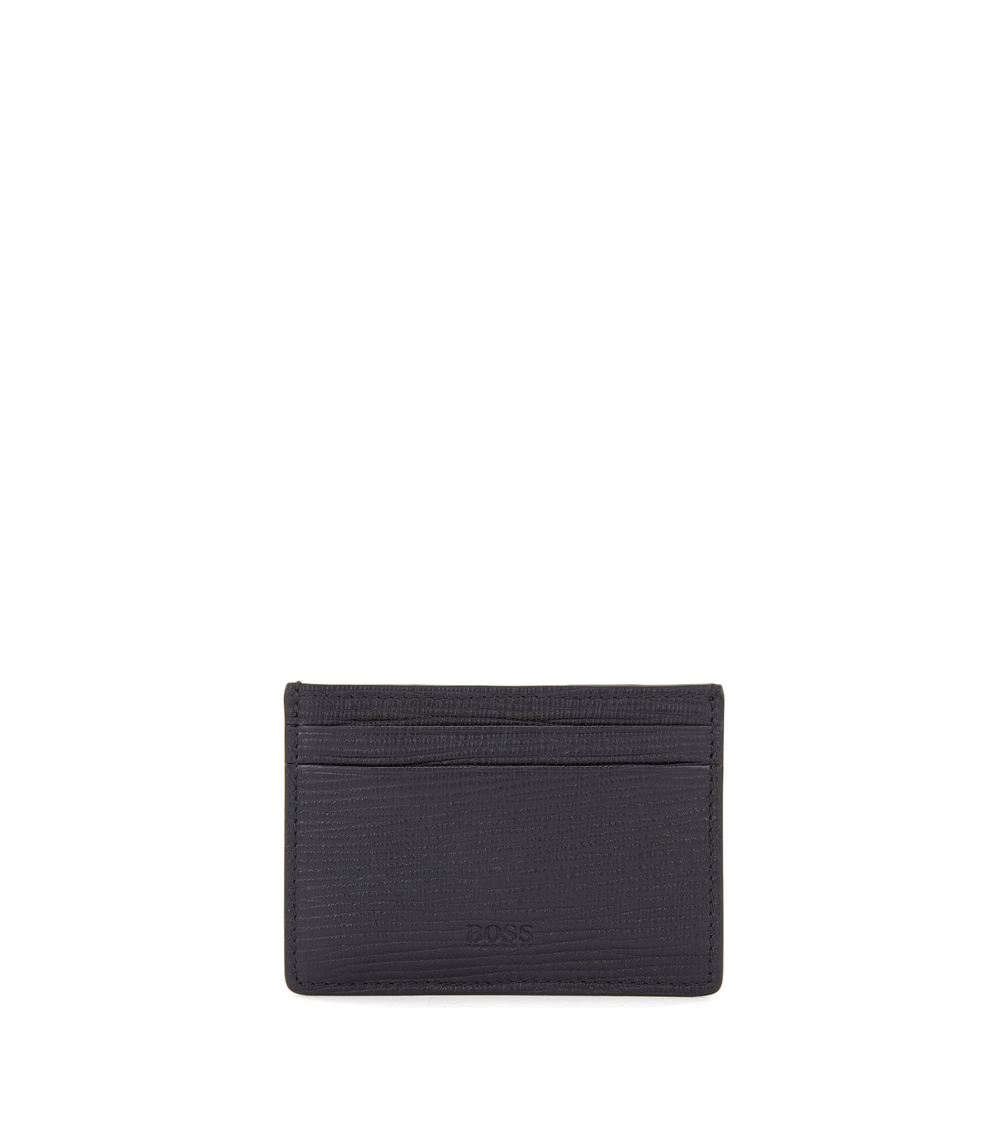 Leather card holder with money clip, Dark Blue