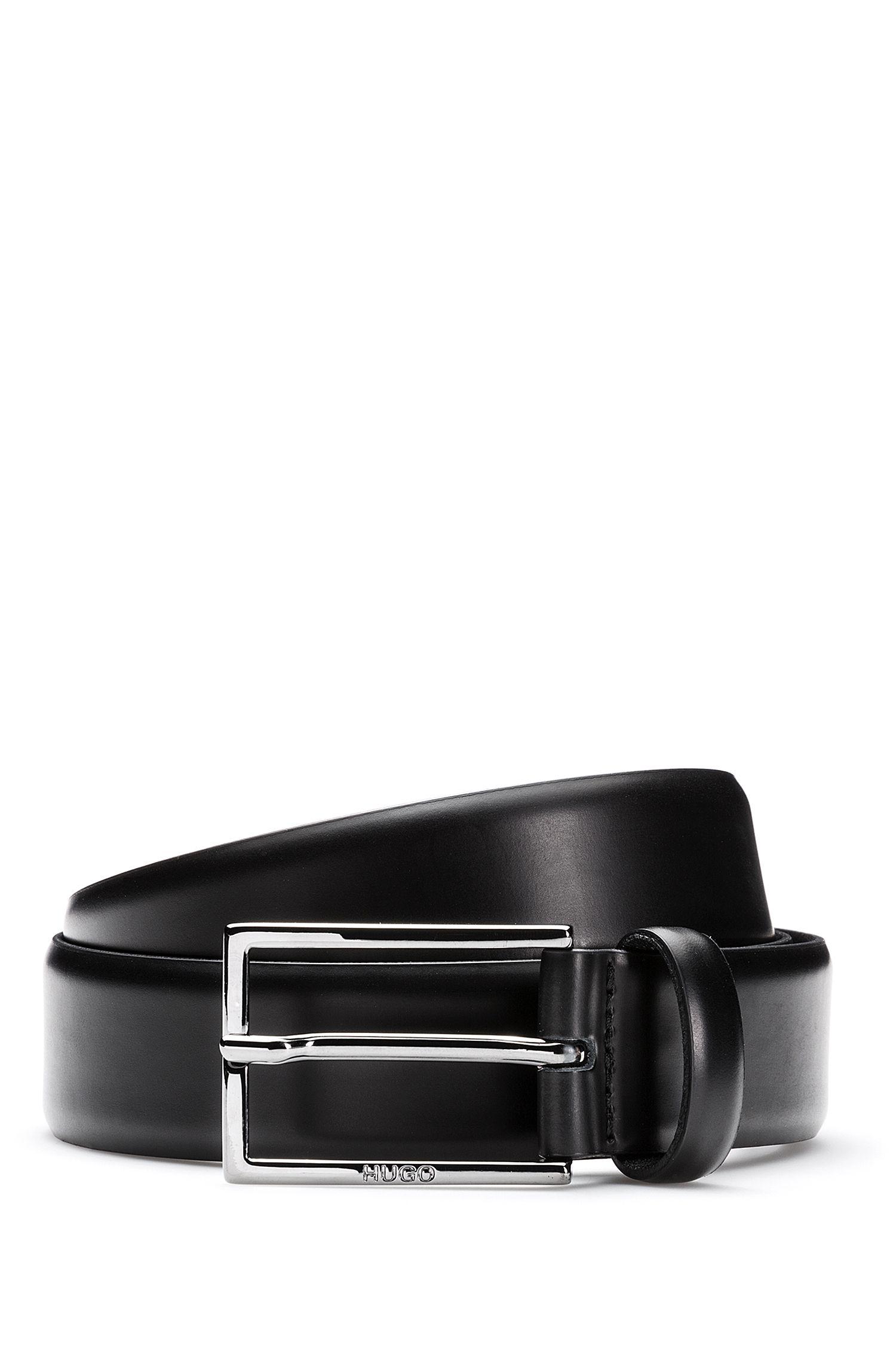 Cintura in pelle spazzolata con finiture lucide in metallo color canna di fucile