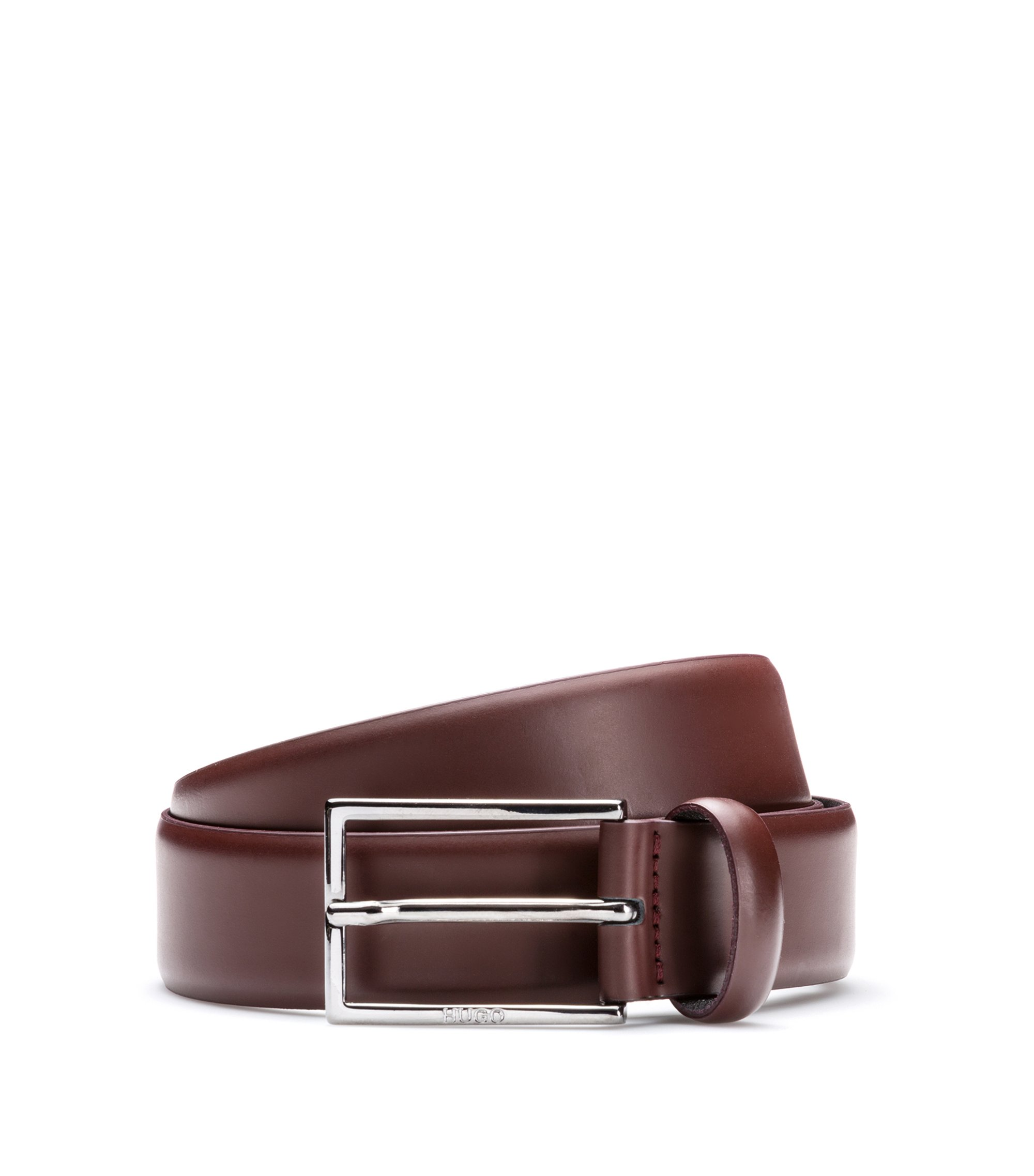 Brush-off leather belt with polished gunmetal hardware, Dark Red
