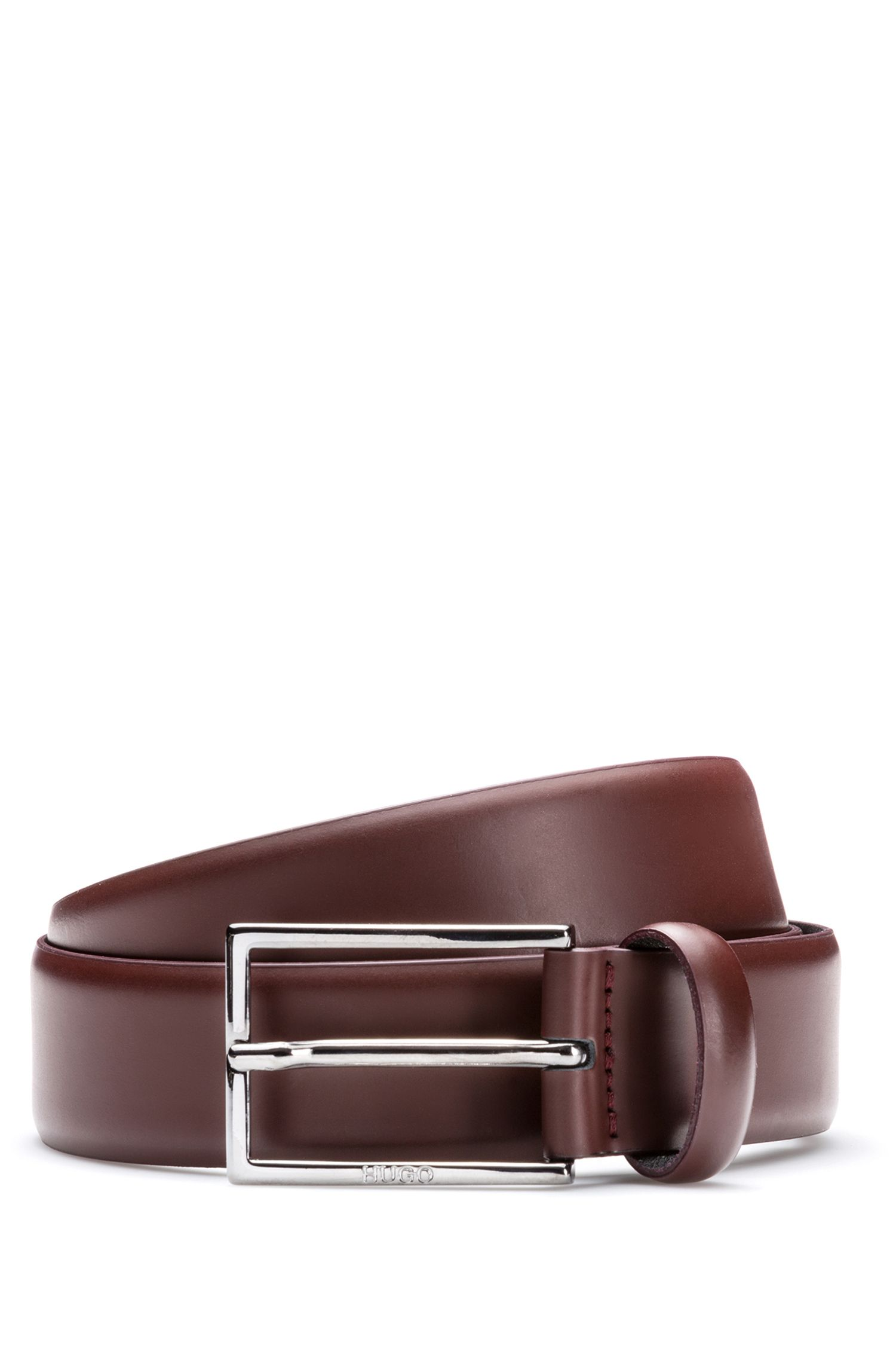 Brush-off leather belt with polished gunmetal hardware