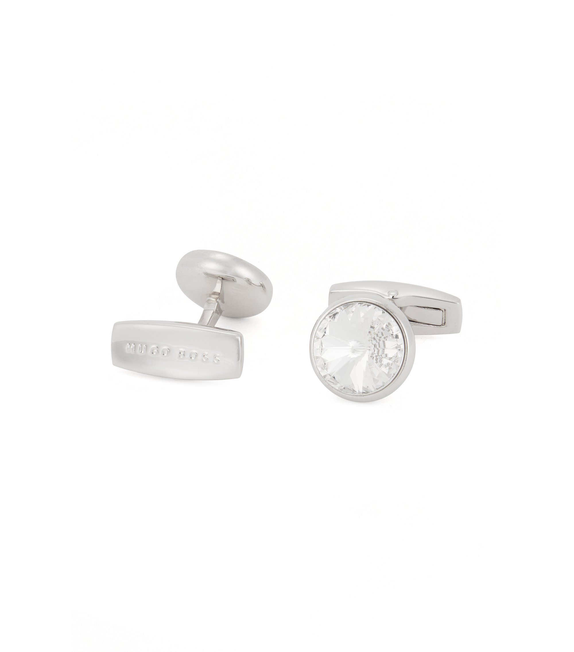 Round cufflinks with faceted core, White