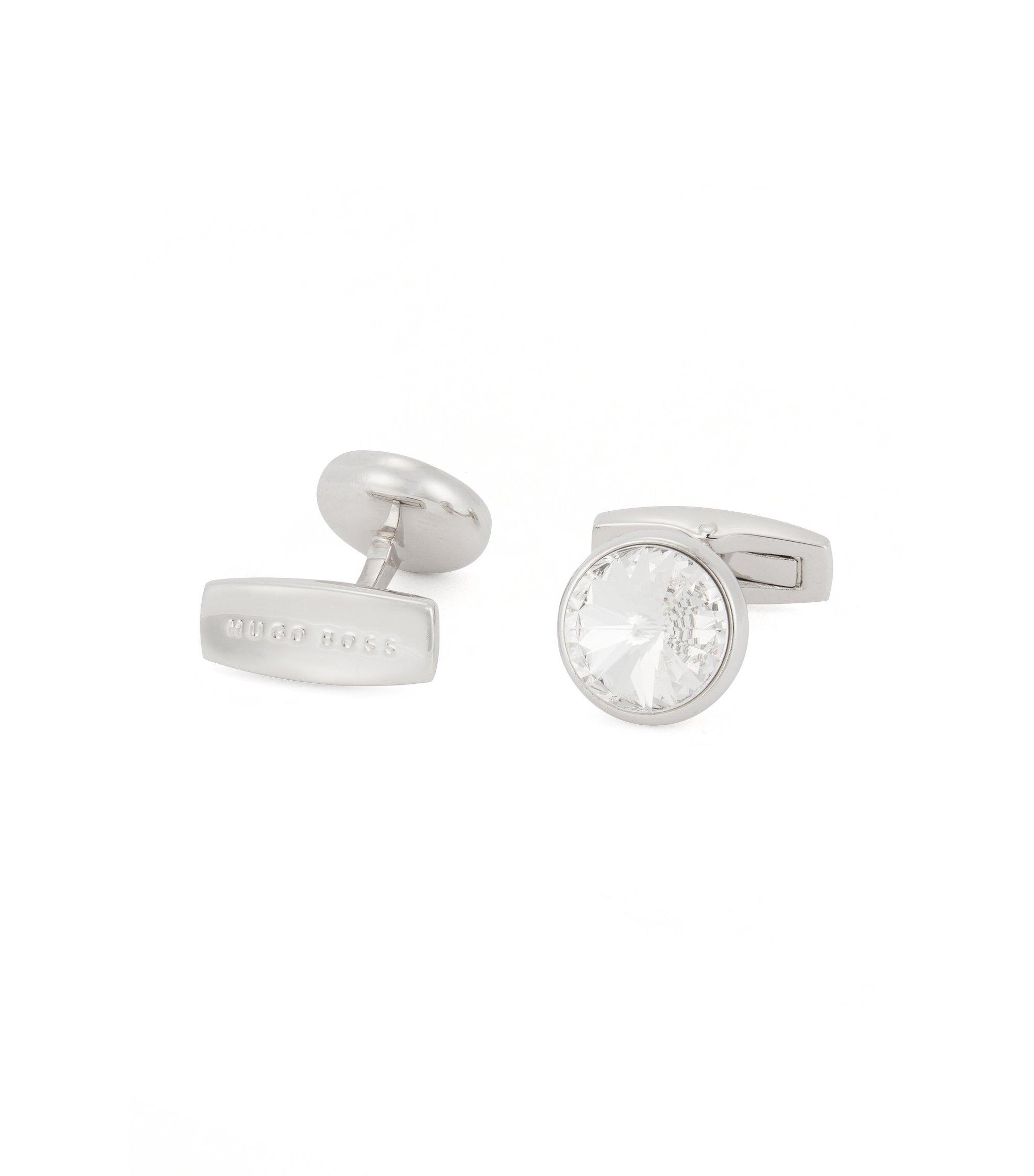 Runde Manschettenknöpfe aus Messing mit geschliffenem Glas-Einsatz, Weiß