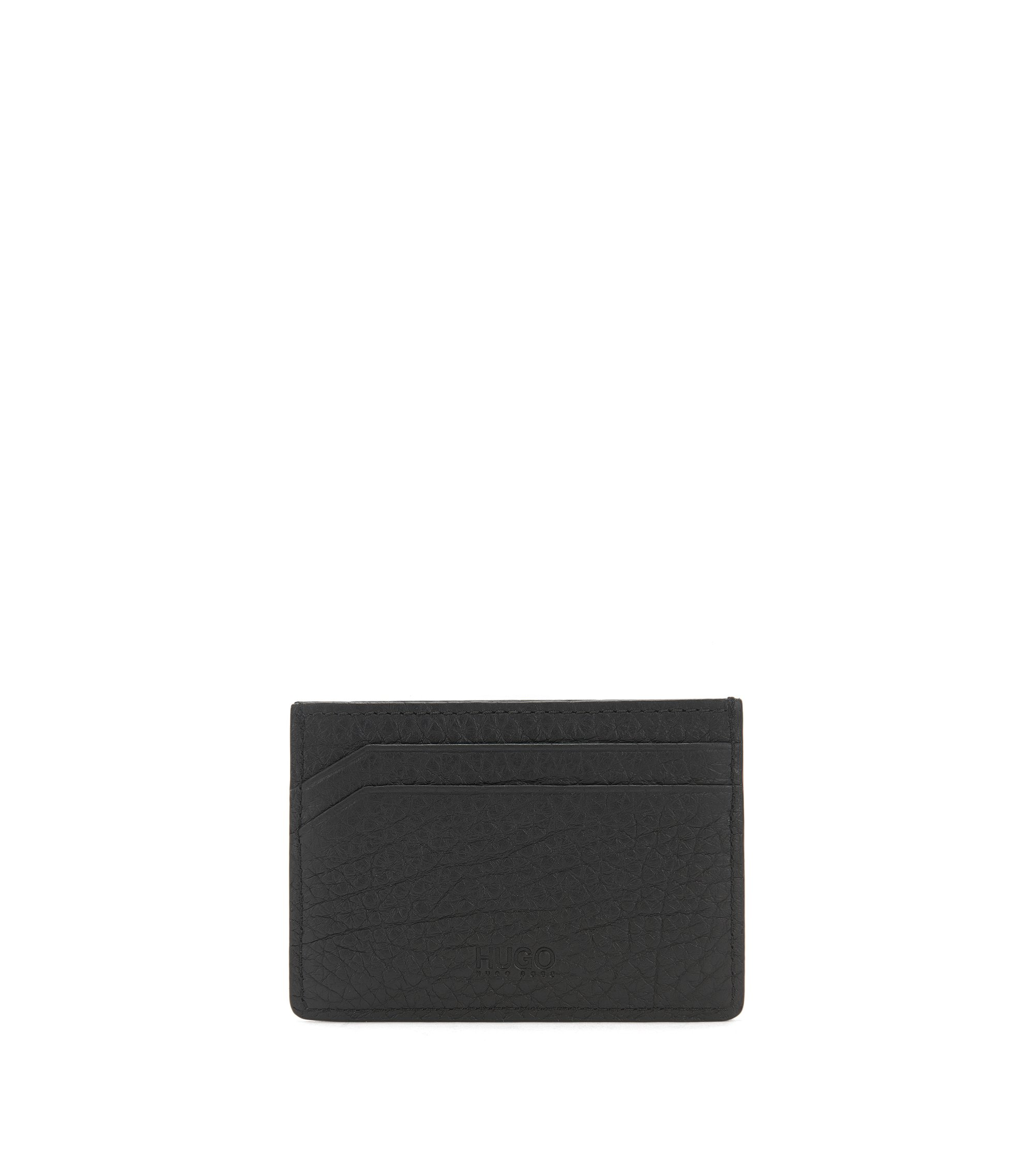 Reverse-logo card holder in grained leather, Black